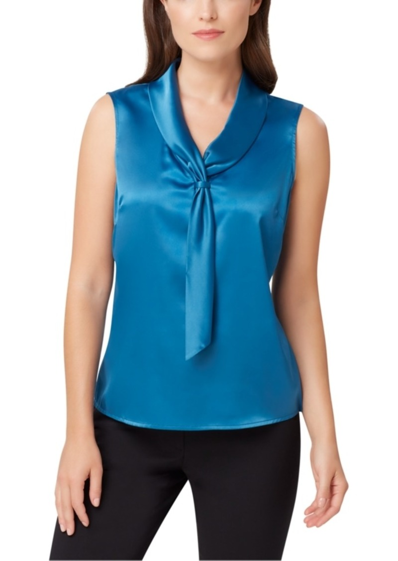 Tahari Asl Tie-Neck Sleeveless Top