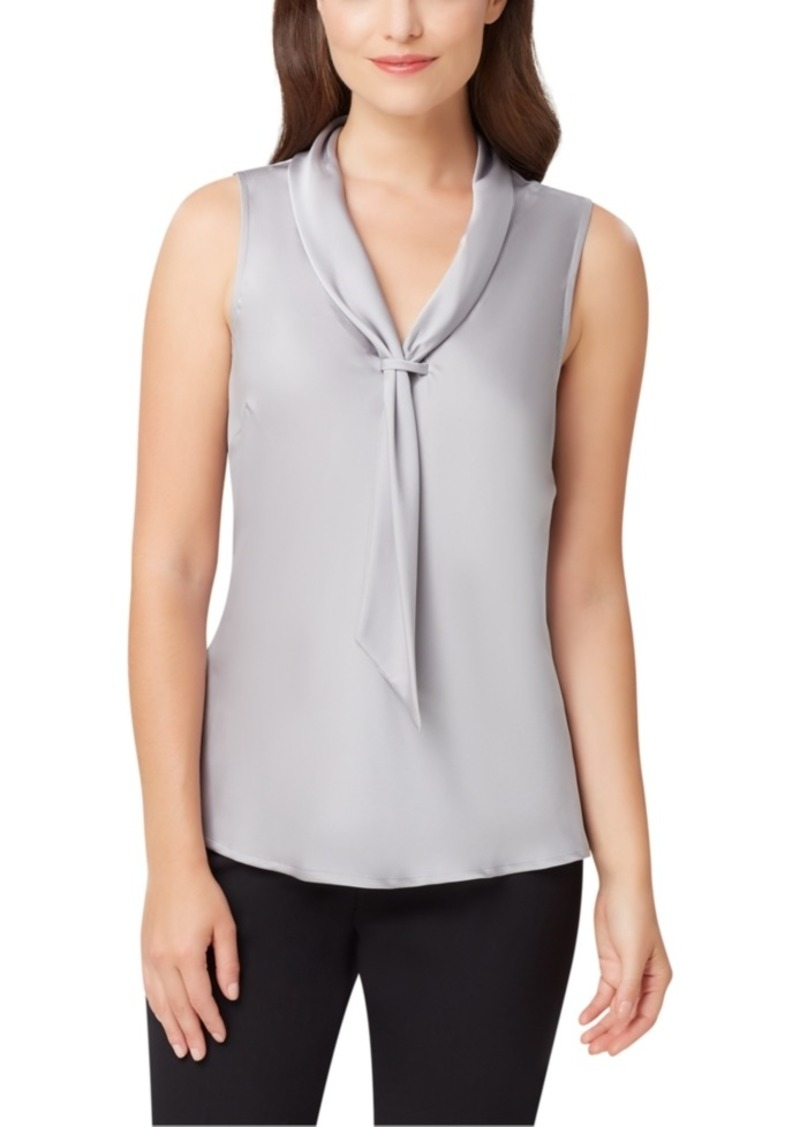 Tahari Asl Petite Tie-Neck Sleeveless Top