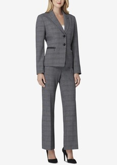 Tahari Asl Petite Two-Button Plaid Pantsuit