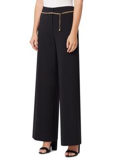 Tahari Asl Petite Wide-Leg Chain-Belt Pants