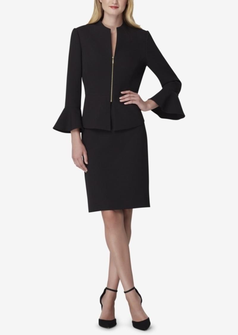 Tahari Asl Petite Zip-Front Bell-Sleeve Jacket & Skirt Suit