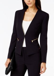 Tahari Asl Petite Zip-Pocket Collarless Blazer