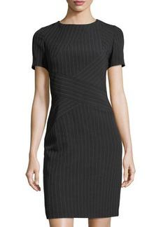 Tahari ASL Pinstripe Crisscross Short-Sleeve Dress