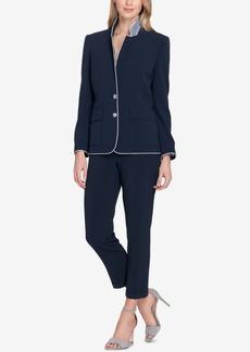 Tahari Asl Piped Two-Button Pantsuit, Regular & Petite