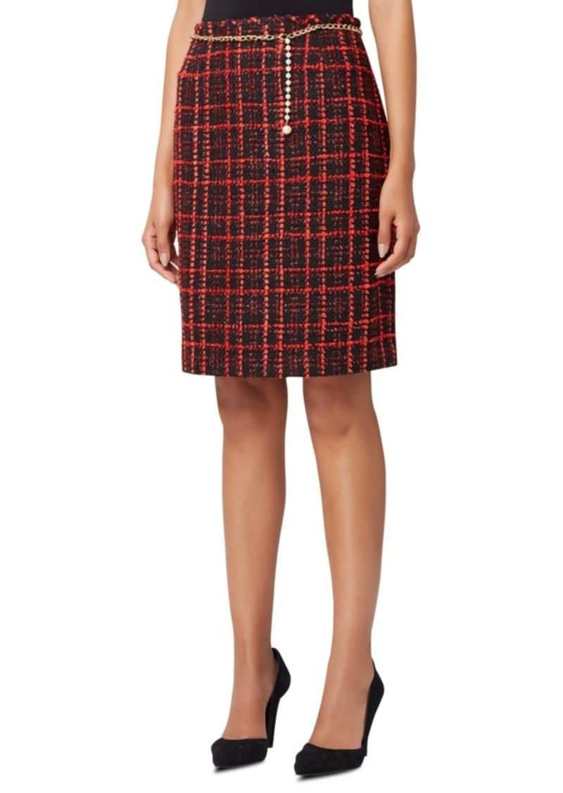 Tahari Asl Plaid Boucle Pencil Skirt With Chain Belt