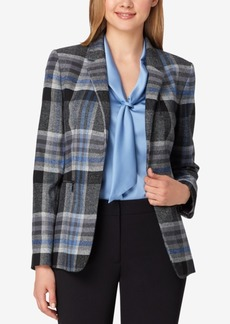 Tahari Asl Plaid One-Button Blazer