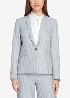 Tahari Asl Plaid One-Button Notch-Collar Jacket