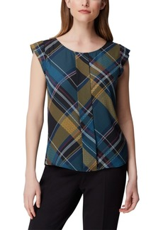 Tahari Asl Plaid Pleat-Front Top