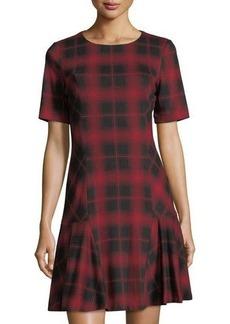 Tahari ASL Plaid Short-Sleeve Ruffle-Skirt Dress