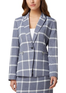 Tahari Asl Plaid Zip-Detail Blazer
