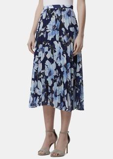 Tahari Asl Petite Floral-Print Pleated Midi Skirt