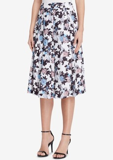 Tahari Asl Pleated Floral-Print Skirt