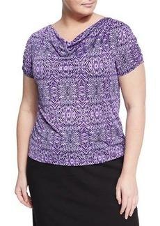 Tahari ASL Plus Cowl-Neck Printed Jersey Blouse