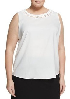 Tahari ASL Plus Cutouts Crepe de Chine Blouse