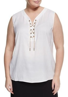 Tahari ASL Plus Lace-up Charmeuse Blouse