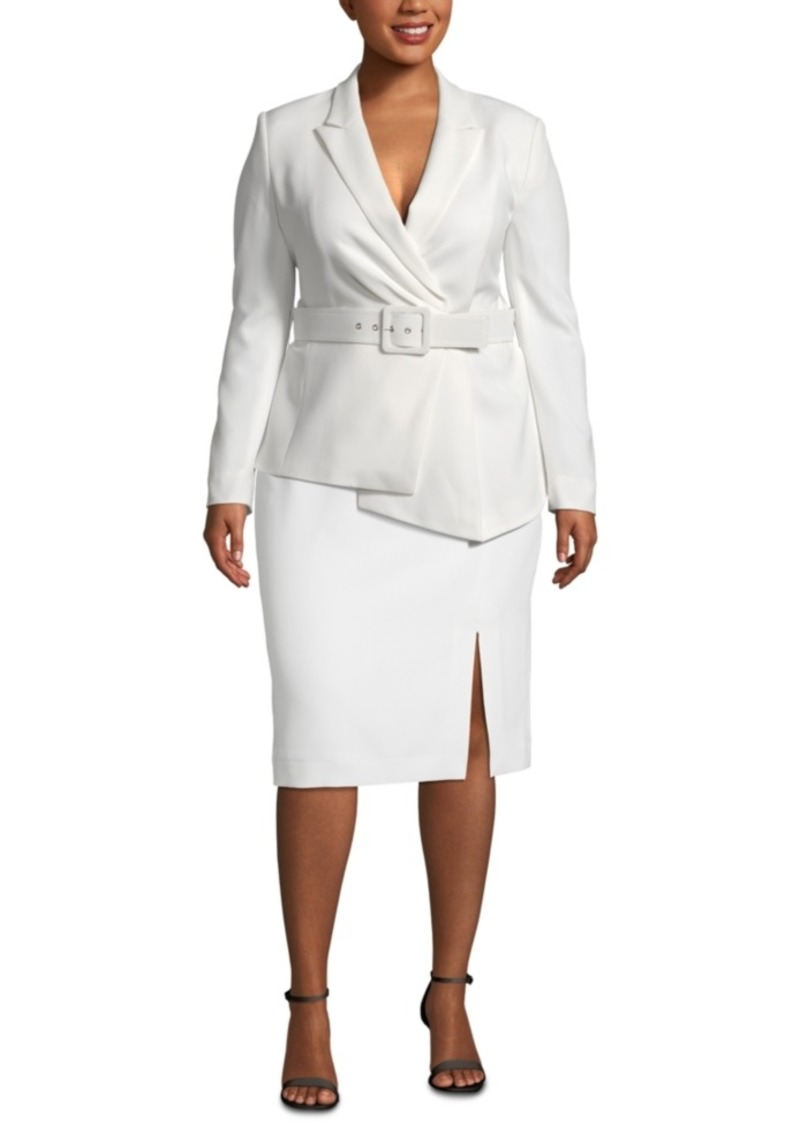 Tahari Asl Plus Size Asymmetrical Belted Skirt Suit