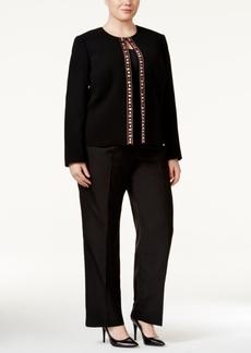 Tahari Asl Plus Size Bead-Trim Crepe Jacket