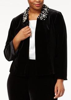 Tahari Asl Plus Size Beaded-Collar Cropped Jacket