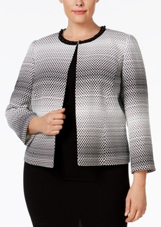 Tahari Asl Plus Size Beaded Open-Front Jacquard Jacket
