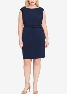 Tahari Asl Plus Size Belted Cap-Sleeve Sheath Dress