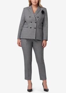 Tahari Asl Plus Size Double-Breasted Plaid Pantsuit