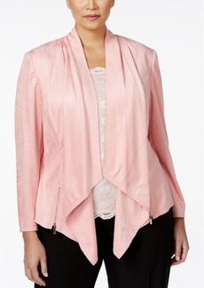 Tahari Asl Plus Size Draped Faux-Suede Jacket