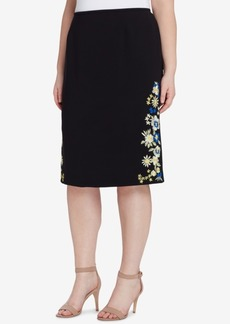 Tahari Asl Plus Size Embroidered Skirt