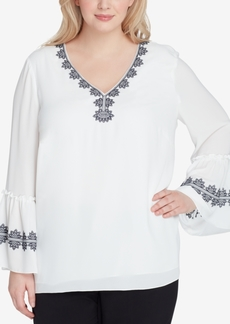 Tahari Asl Plus Size Embroidered Top