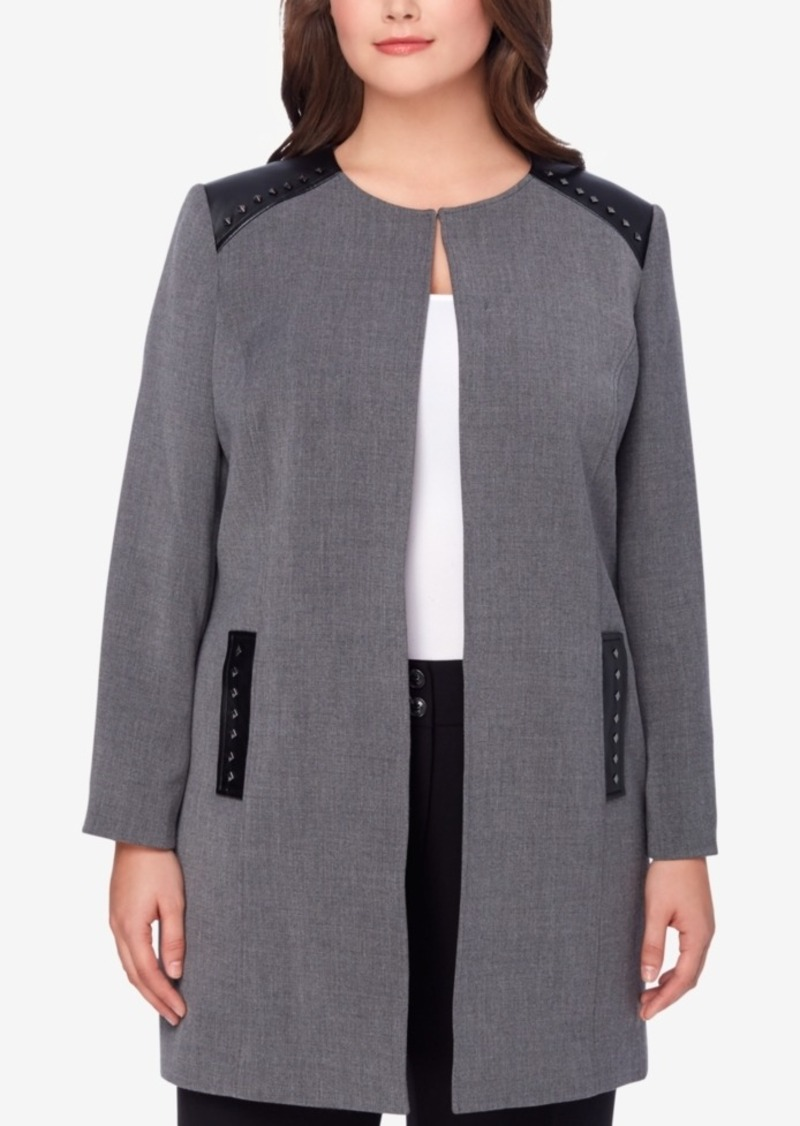 5023c832dc9 Tahari Tahari Asl Plus Size Faux-Leather-Trim Topper Jacket