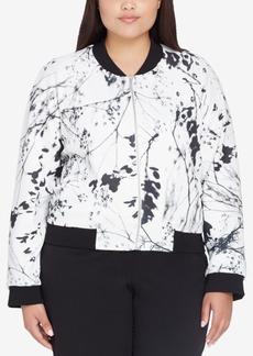 Tahari Asl Plus Size Floral-Print Bomber Jacket