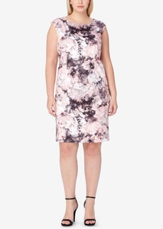 Tahari Asl Plus Size Floral-Print Scuba Sheath Dress