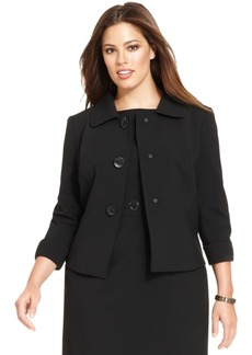Tahari Asl Plus Size Threer-Button Three-Quarter-Sleeve Jacket