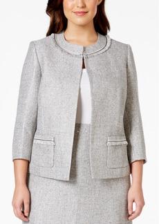 Tahari Asl Plus Size Fringe-Trim Boucle Jacket