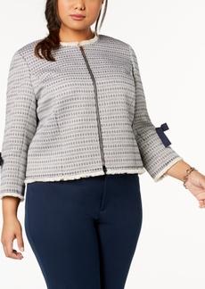 Tahari Asl Plus Size Fringe-Trim Jacket