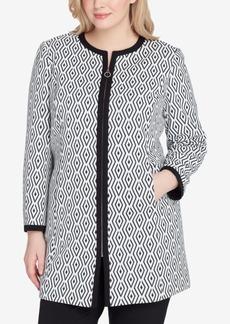 Tahari Asl Plus Size Jacquard Topper Jacket
