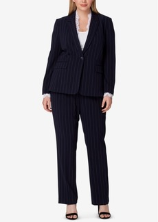 Tahari Asl Plus Size Lace-Trim Pinstriped Pantsuit