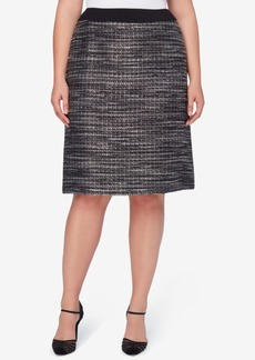 Tahari Asl Plus Size Metallic Boucle A-Line Skirt
