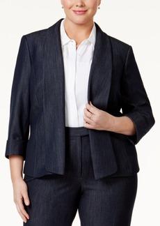 Tahari Asl Plus Size Open-Front Chambray Blazer