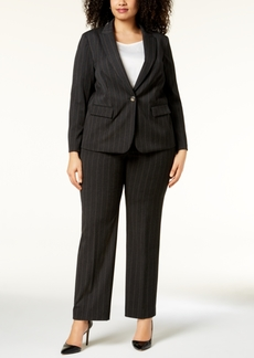 Tahari Asl Plus Size Pinstriped One-Button Pantsuit