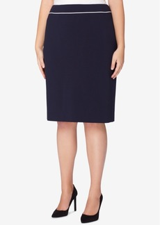 Tahari Asl Plus Size Piped Pencil Skirt