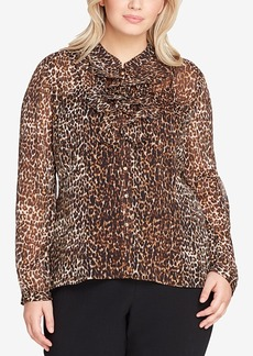 Tahari Asl Plus Size Printed Double-Ruffle Blouse