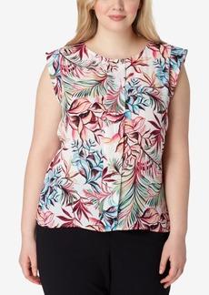 Tahari Asl Plus Size Printed Flutter-Sleeve Blouse