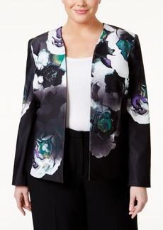 Tahari Asl Plus Size Printed Pique Open-Front Jacket