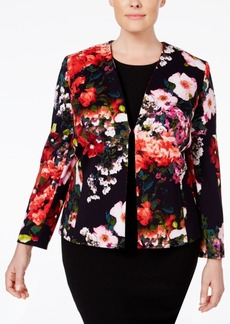 Tahari Asl Plus Size Printed Scuba Jacket