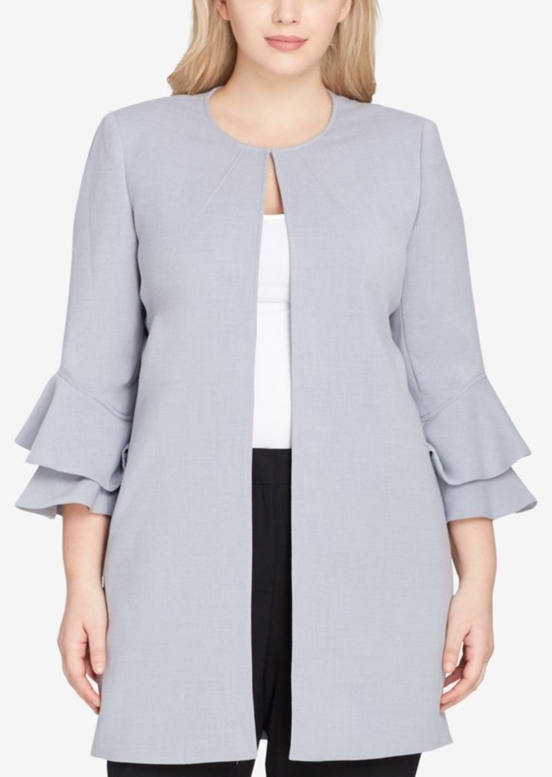 5fd8cd79e22 SALE! Tahari Tahari Asl Plus Size Ruffled-Sleeve Topper Jacket
