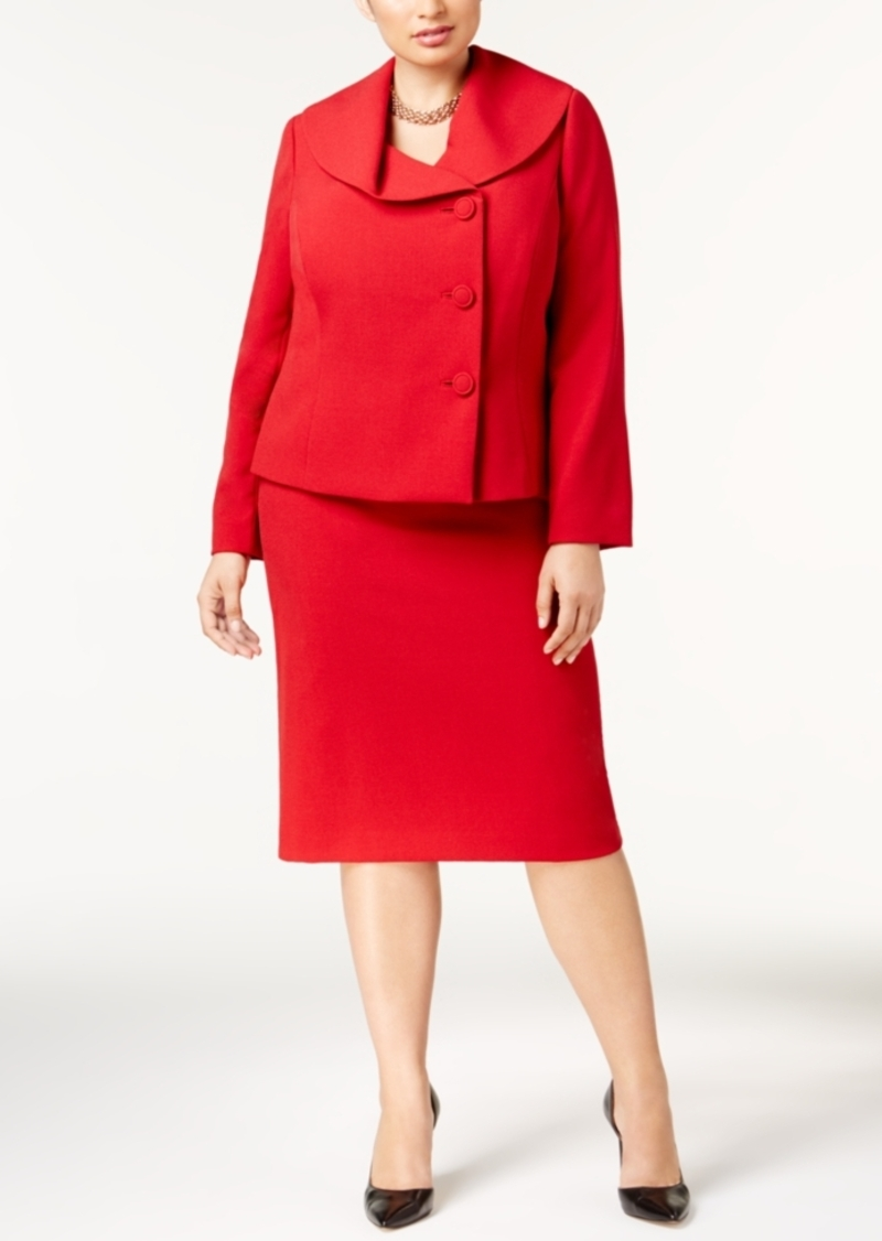 Tahari Tahari Asl Plus Size Shawl-Collar Skirt Suit | Suits