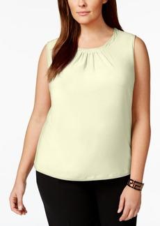 Tahari Asl Plus Size Sleeveless Pleat-Neck Top