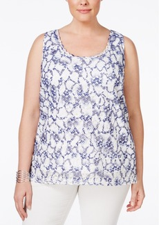 Tahari Asl Plus Size Sleeveless Printed Lace Blouse