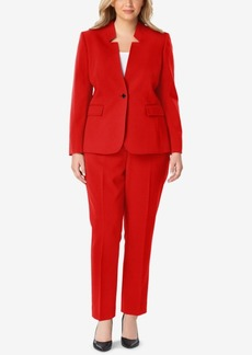 Tahari Asl Plus Size Star-Collar One-Button Pantsuit
