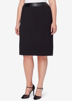 Tahari Asl Plus Size Studded Faux-Leather Pencil Skirt